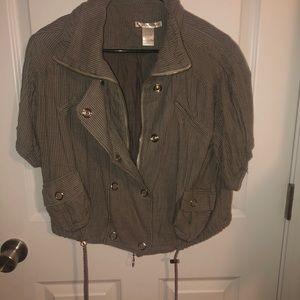 Half sleeve pin stipe army green and tan jacket